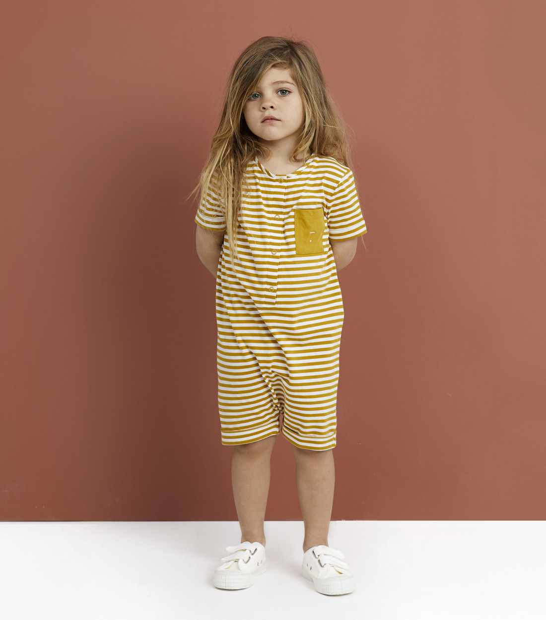 그레이라벨 SHORT LEG SUIT / MUSTARD STRIPE