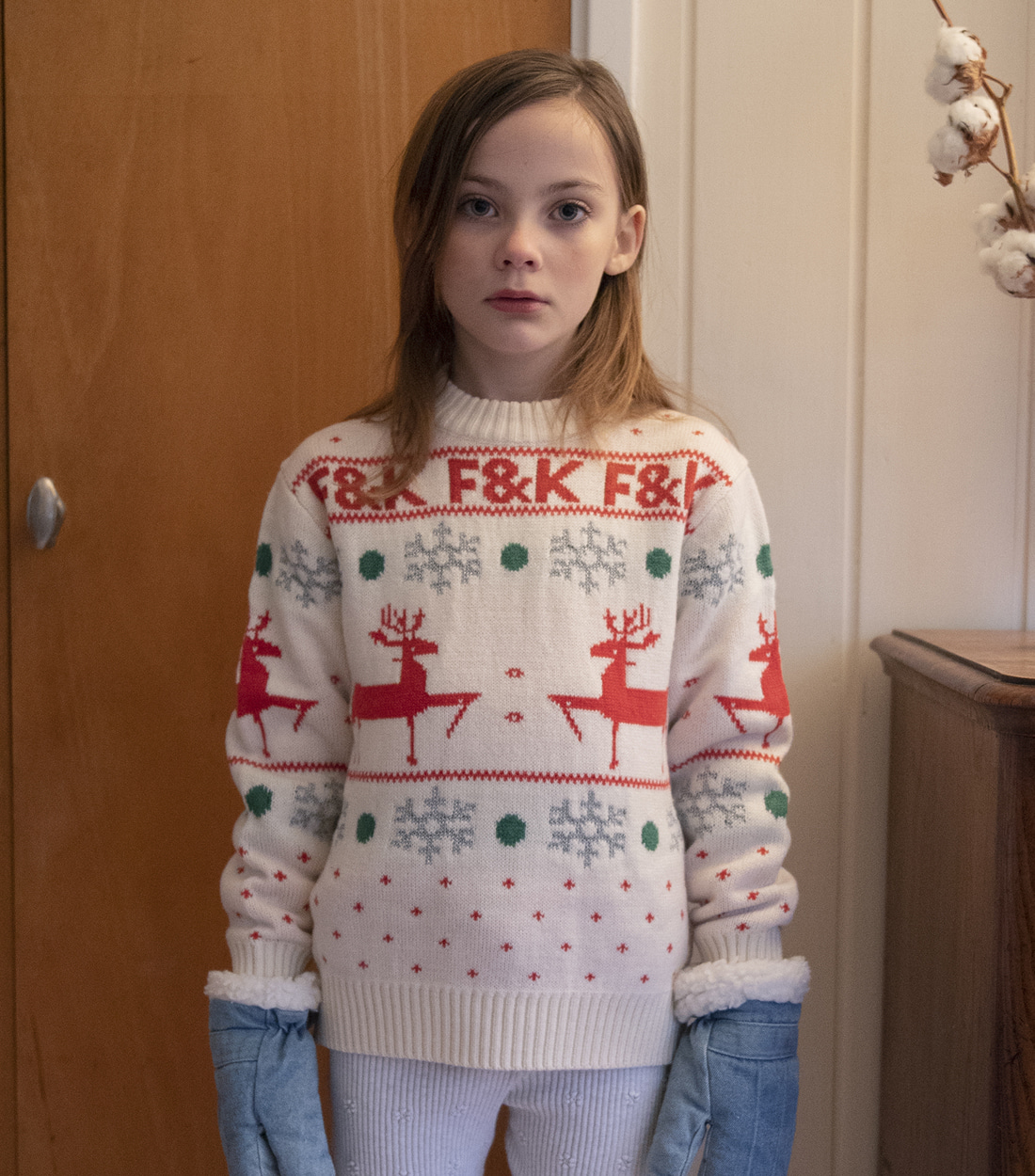 피쉬앤키즈 F&K CHRISTMAS SWEATER / ECRU&RED